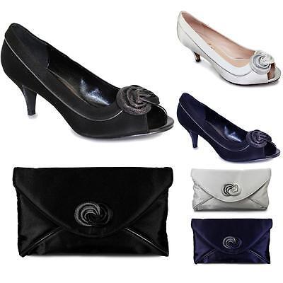 low priced 49d80 2726a Para Mujer Bold Trim Brillo Frontal Tacones Damas Peep Toe de bolsa de  embrague de Satén