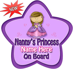 Personalised-Nanny-039-s-Princess-Star-Shaped-Baby-On-Board-Car-Sign-New-pinpur