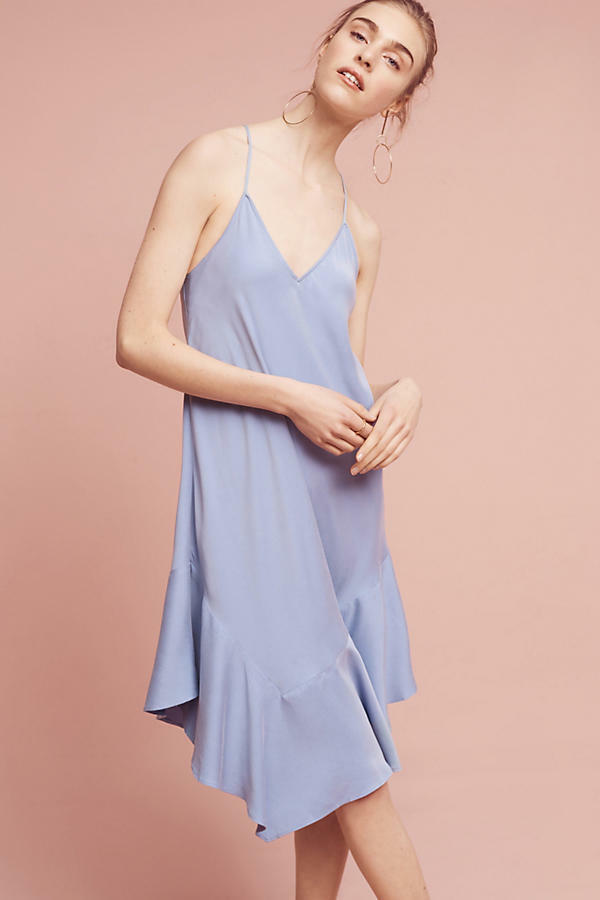Anthropologie Dress Ruffled Light bluee Jill Slip Chemise By Holding Horses Sz XL