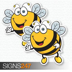 2-x-BEE-STICKERS-Happy-Bumble-Bee-Fun-Window-Bumper-Sticker-Vinyl-Decal