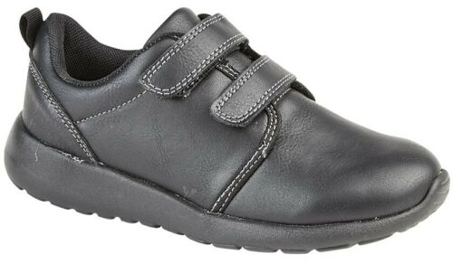 Boys Touch Fastening Trainers School Shoes All Black Sizes 8 9 10 11 12 13 1 2