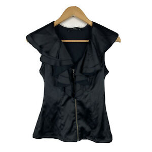 Cue-Womens-Blouse-Size-8-Black-Frilly-Good-Condition-Sleeveless-Top