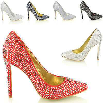 WOMENS STILETTO HIGH HEEL DIAMANTE SATIN BRIDAL PROM PARTY LADIES POINTED SHOES