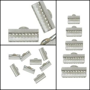 Metall-Silber-Endkappen-Verbinder-Verschluss-Krokodil-6-8-10-13-16-mm-Wahlen