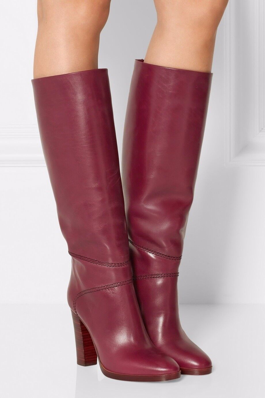Vintage Women's Knee High Boots Block High Heels Round Toe Knight Boot shoes