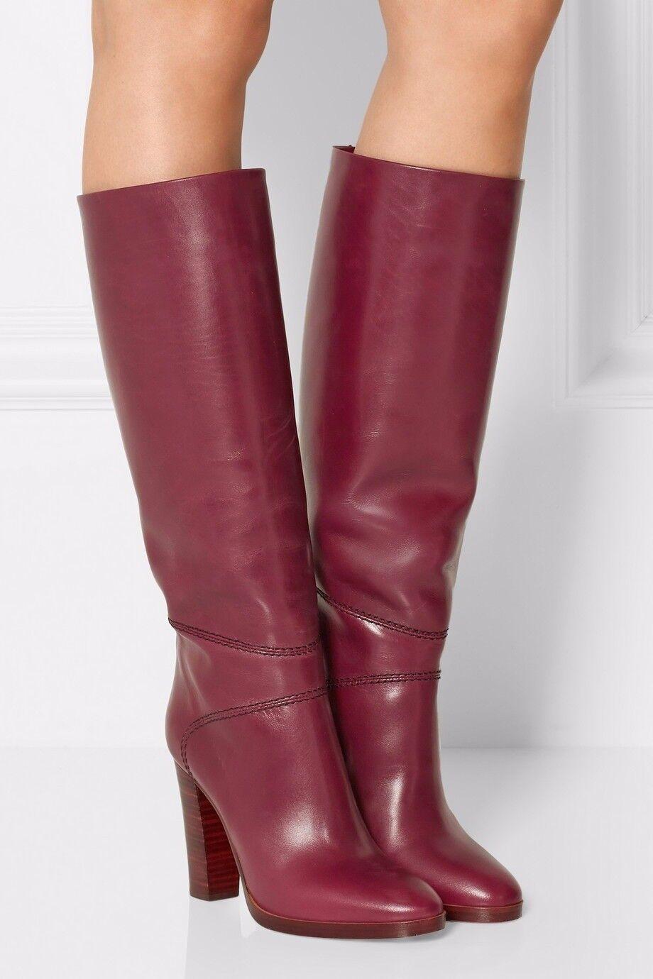 Vintage Wouomo Knee High stivali Block High Heels Round Toe Knight avvio scarpe