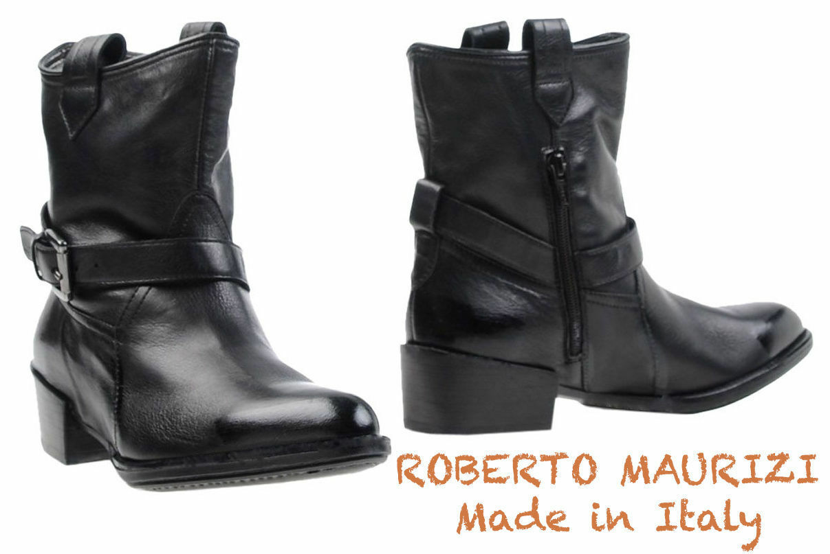 NIB 215 ROBERTO MAURIZI MADE IN ITALY BLACK ANKLE BOOTS. SZ 38/8