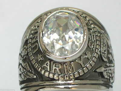 11x9 mm United States Navy Military April Clear CZ Birthstone Men Ring Size 8-14