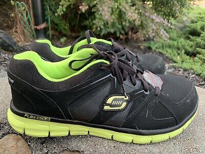 Skechers Flex Sole Trabajo con puntera de acero zapatos talla 10.5M44 Negro ECU | eBay