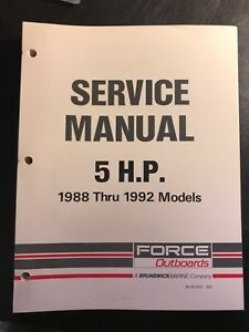 Force 5 HP 5HP Outboard Motor Service Manual 1988 1989 1990 1991 1992, 90-823263