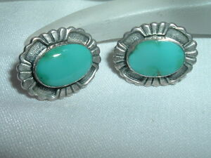 Authentic Vintage Southwest Sterling Silver Turquoise Earrings in Gift Box