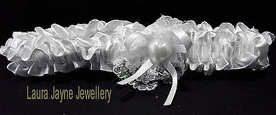 white Satin Bridal garters with white Ribbon  Bow /& faux pearl heart design