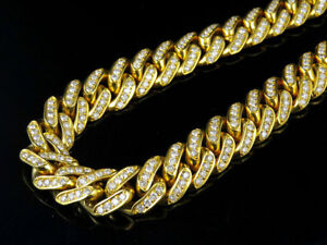 Mens 10k yellow gold miami cuban link real diamond necklace chain image is loading men 039 s 10k yellow gold miami cuban mozeypictures Gallery