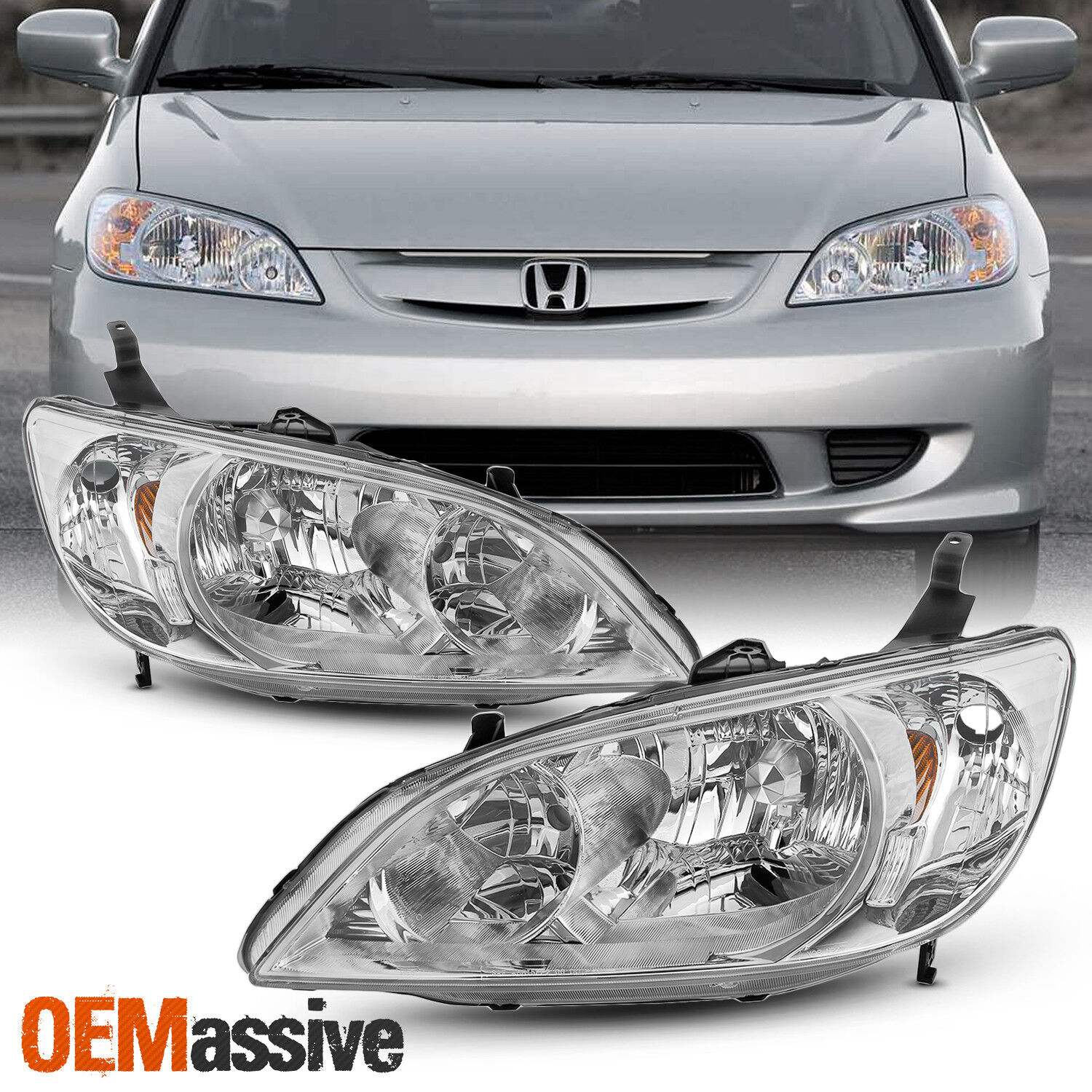 Right Side Headlights Front Lamps Pair 04 05 Fits 2004 2005 Honda Civic Left