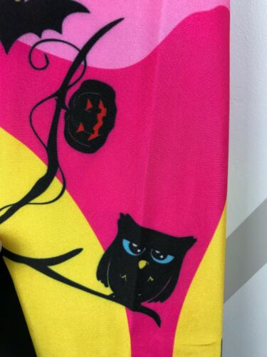 Halloween Leggings S-XL Haunted House At Sunset Bats Owls Pink FREE SHIPPING!