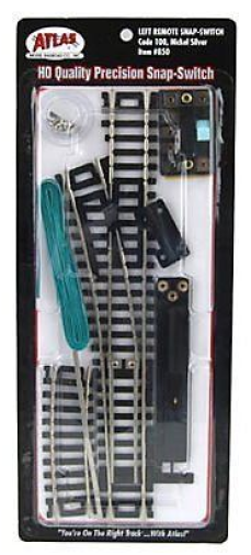 Atlas #850 Left Hand Remote Snap Switch -  HO Scale - Code 100 Rails