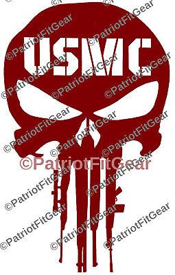 Punisher Skull USMC Decal Die Cut Vinyl Marine Corps Sticker Semper Fi Devil Dog