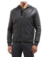 Core Spirit Mens Designer Grey Classic Soft Leather Retro Bomber Hoodie Jacket