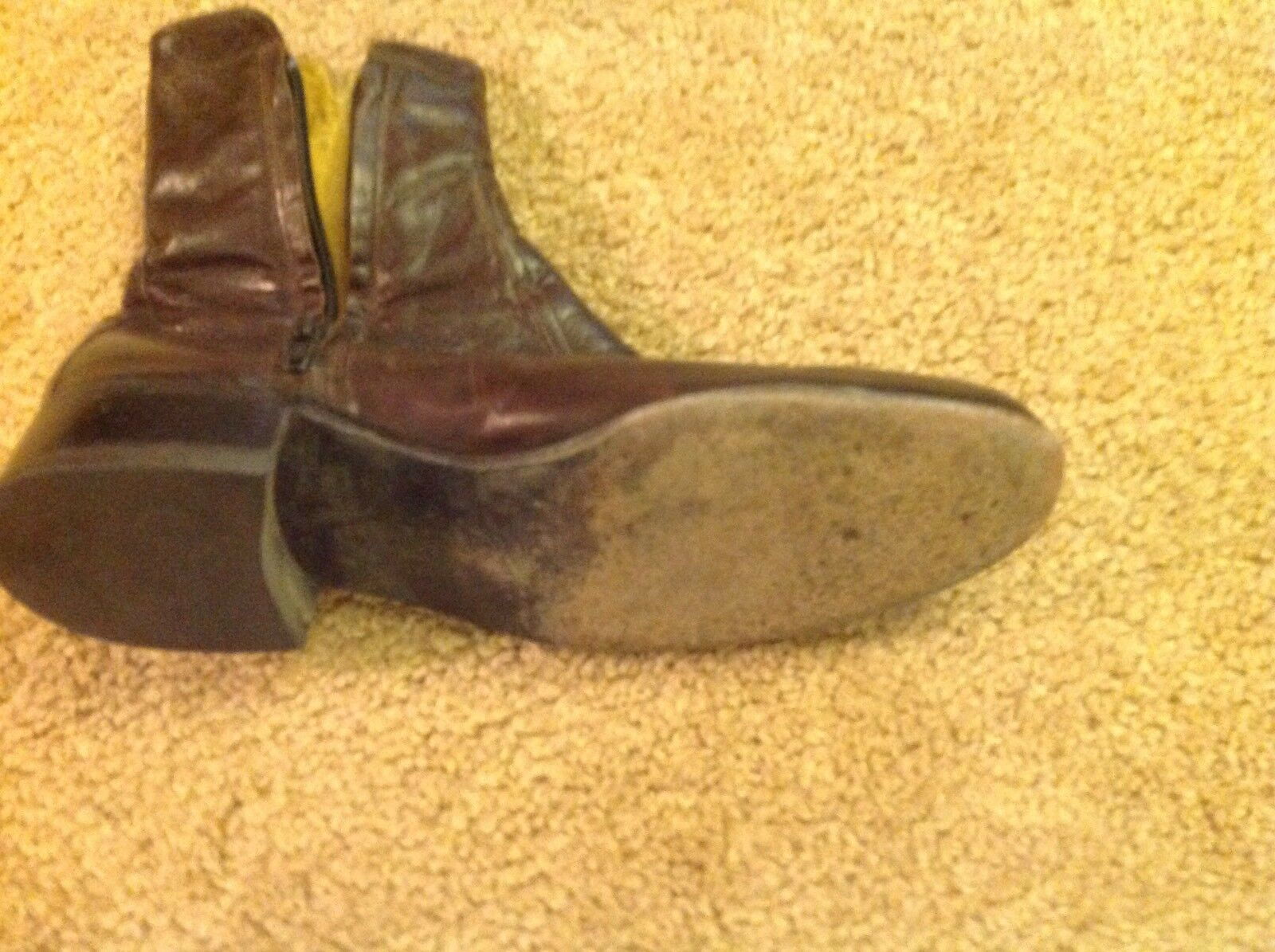 Men's Brown leather Ankle Boots Size 6.5 Very Good Preowned Condition