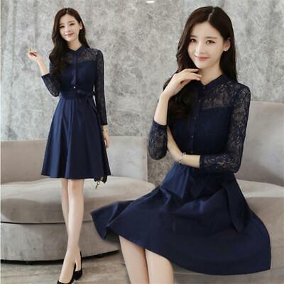 Korean Women Lace Empire Waist A line Tunic Party Evening Cocktail Formal Dress   eBay