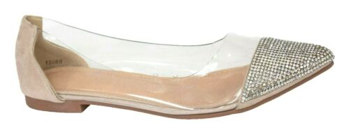 Ballerina Dolly Pumps Flat Clear Diamante Comfy Party Shoes Size Womens Ladies