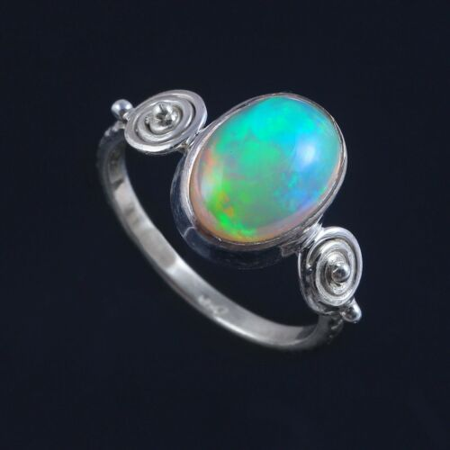 Details about  /100/% Natural Ethiopian Amazing Opal  Vintage Silver Ring October Birthstone #623
