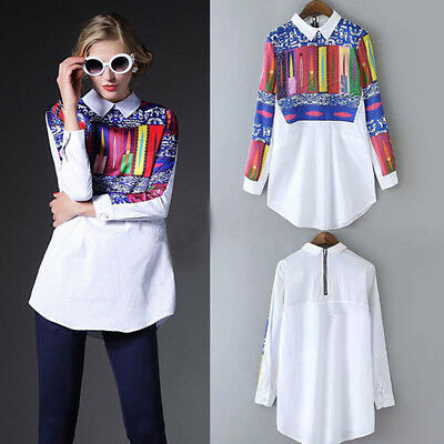 Fashion Floral Print T Shirt Blouse Long Sleeve Women Tops Casual Shirt Chiffon