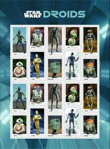 US Stamps Scott #5573-5582 5582a Sheet of 20 - Mint NH Star Wars Droids - fresh