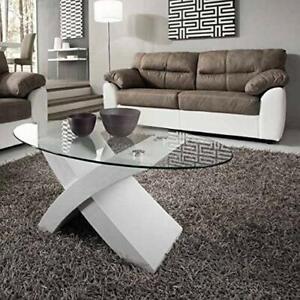 Tavolino Da Salotto Moderno Bianco.Dettagli Su Tavolino Da Salotto Moderno In Vetro Temperato Ovale E Base Bianca O Rovere