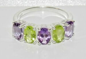 Sterling-Silver-Peridot-amp-Amethyst-5-Stone-Ring-Real-925-Silver-All-Sizes