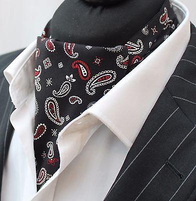 Foulard Da Collo Ascot Uk Made Nero Paisley. Cravatta & Fazzoletto. Premium Cotone.-mostra Il Titolo Originale Scelta Materiali