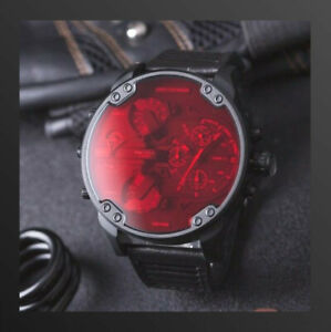 New-DIESEL-Original-DZ7402-Mr-Daddy-2-0-Quartz-St-Steel-Black-Red-Leather-Watch