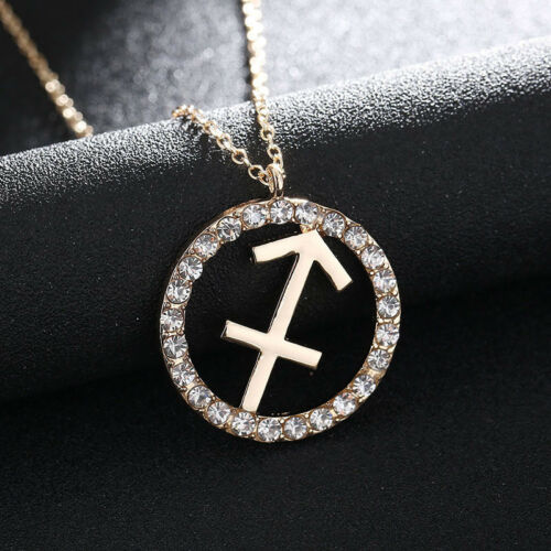 Charms Women 12 Constellation Crystal Zodiac Sign Pendant Chain Necklace Jewelry