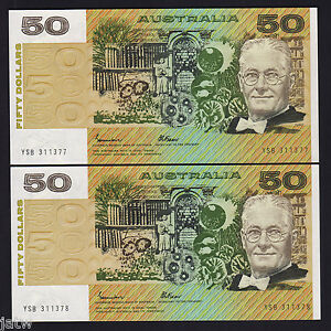 R-509a-1985-Fifty-Dollars-Johnston-Fraser-Gothic-UNC-CONSECUTIVE-Pair