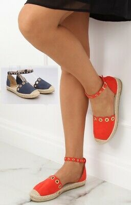 WOMEN/'S LADIES ESPADRILLES CASUAL SHOES SANDALS WITH BELT RED BLUE SIZE UK 3-8