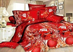 Royal-Santa-Winter-Print-Duvet-Quilt-Cover-Bedding-Set-Pillowcases-All-Size-Xmas