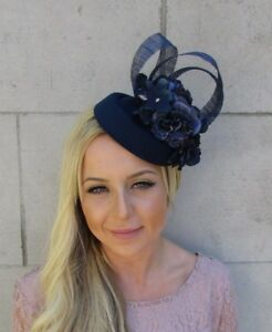 Image is loading Navy-Blue-Hydrangea-Flower-Pillbox-Hat-Hair-Fascinator- 8012ccdde9c