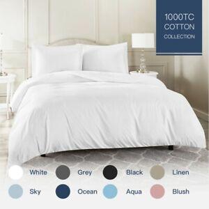 100-Cotton-1000TC-Single-KS-Double-Queen-King-Super-K-Quilt-Duvet-Cover-Set