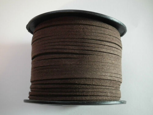 Various Colours 1m or 5m lengths SM06 Faux Suede Cord 3mm x 1.5mm wide