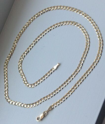 """14K Solid Yellow Gold 3mm Cuban Link Chain Necklace Men Women Size 14/""""-36/"""""""