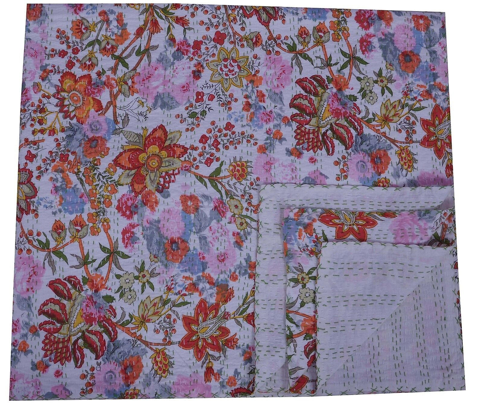 Indian Cotton Blanket Reversible Floral Print Queen Kantha Quilt Bedspread Ralli