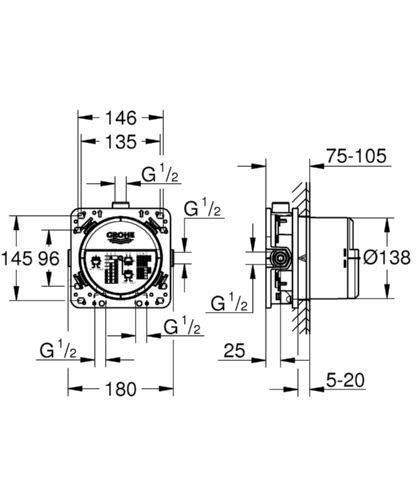 Rapido Smartbox 35600000 Grohe Smartcontrol Unterputzmischer 29146000 rund inkl