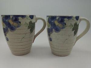 222-Fifth-GRAPEVINE-Mugs-Coffee-Cups-Genuine-Stoneware-Grapes-Vines-2pcs-MINT