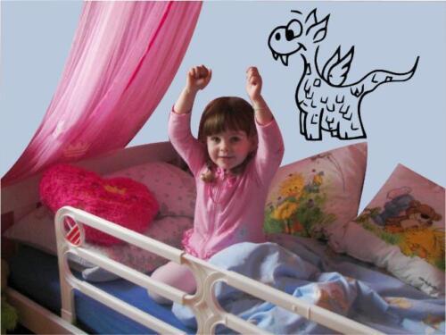 Wandtattoo Kinderzimmer kleiner Drache Türsticker #kz95