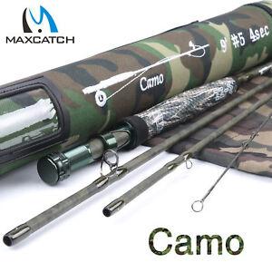 Maxcatch-Camo-Fly-Rod-9ft-5WT-4-7Sec-Graphite-Blank-Cordura-Fishing-Rod-Tube