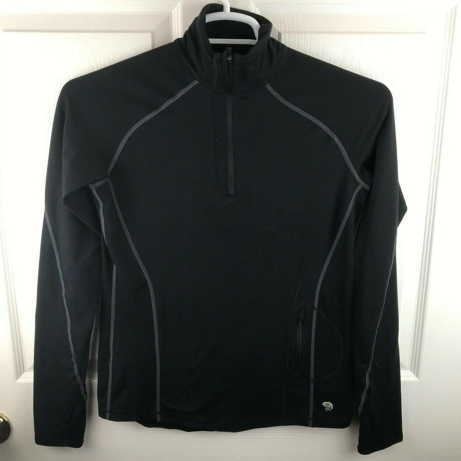 Women's Mountain Hardwear Long Sleeve 1/2 Zip Black Shirt Size Small