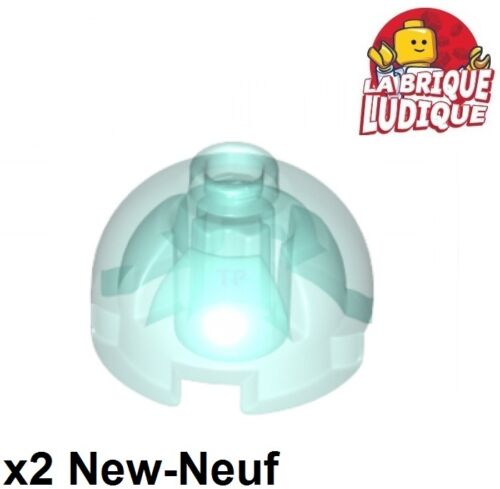 2x brique ronde brick round dome 2x2 bleu ciel trans light blue 553c NEUF Lego