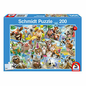 Schmidt-Spiele-Tierische-Selfies-200-Teile-Kinderpuzzle-Steckpuzzle-Puzzlemotiv