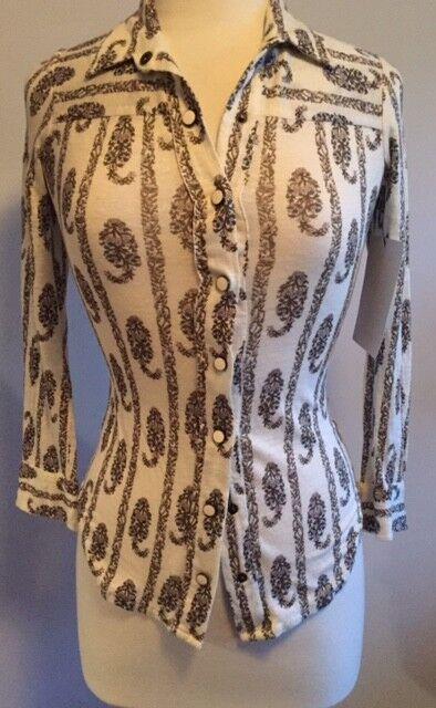 Isabel Marant Etoile 36 4 Cream Multi color Floral Print Snap Front Shirt Top