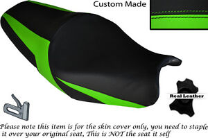 DESIGN-2-GREEN-CUSTOM-FITS-KAWASAKI-ZZR-1400-ZX14R-12-14-LEATHER-SEAT-COVER